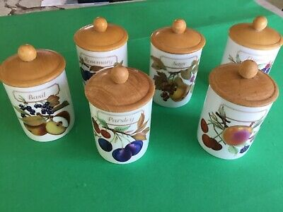 Royal  Worcester Evesham  *** Set Of 6 Lidded  Herb Jars ****