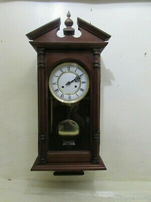 Hermle Wall Clock 141-030 Ting Tang Strike Movement In Solid Mahogany Case