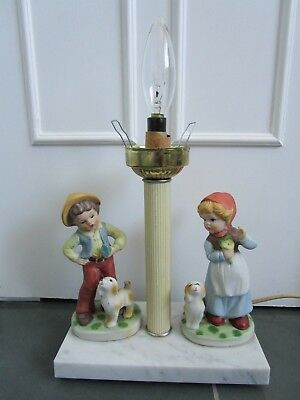 VINTAGE Hand Painted Porcelain 3D Figurines Marble Base Table Lamp Boy Girl Dogs
