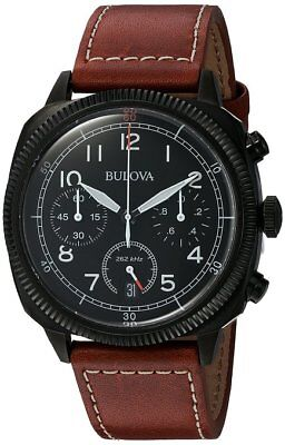 *BRAND NEW* Bulova Men's Chronograph Military Brown Leather Strap Watch 98B245