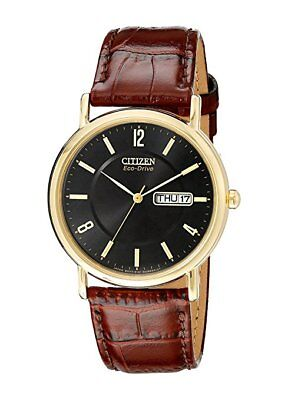 *BRAND NEW* Citizen Men's Eco-Drive Brown Leather Gold Steel Watch BM8242-08E
