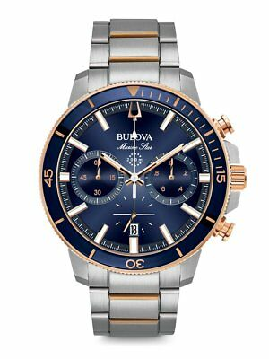 *BRAND NEW* Bulova Men's Blue Dial Two Tone Stainless Steel Case Watch 98B301