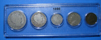 1898 US Coin Year Set 5 Coins 90% Silver