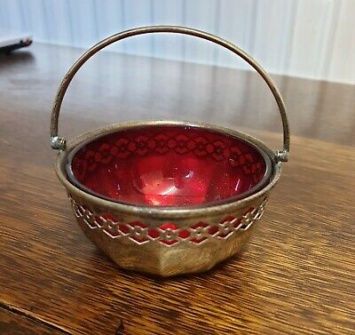 antique silver plate  SUGAR BOWL with red glass liner