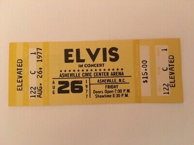 Authentic Unused 1977 ELVIS PRESLEY Concert TICKET ASHEVILLE NORTH CAROLINA MNT