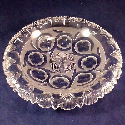 Victorian Cut Lead Glass Everted Rim Dish Fan Cut Rim Frosted Etched Detail 1860