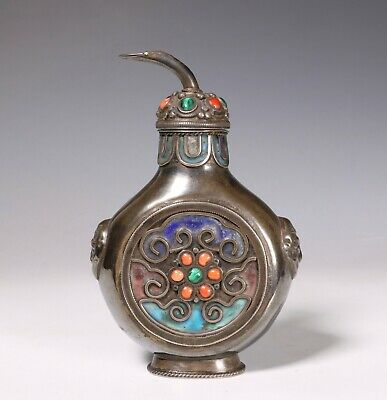 Rare Chinese Mongolian Silver Metal Snuff Bottle 19Thc