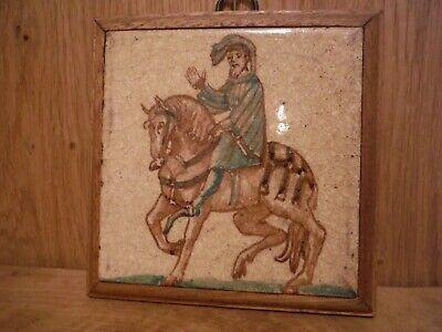 Vintage 4x4 Glazed Tile in wall mounting Medieval subject matter