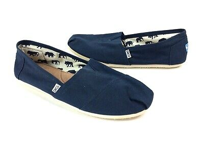 be64aab7ac6 Toms Mens 14 Navy Blue Classic Canvas Slip On Casual Loafers Comfort Flat  Shoes