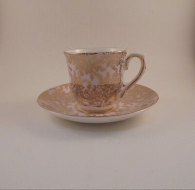 Colclough Bone China Demitasse Cup & Saucer Light Pink With Gold Flowers & Trim
