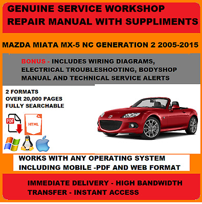 genuine oem workshop service repair manual mazda mx5 2005-2015 +wiring &  body