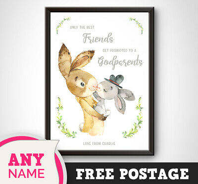 PERSONALISED Baby RABBIT Print - Friends Godparent Christening New Born Boy Girl