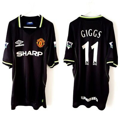 Manchester United Giggs 3rd Shirt 1998. Large. Umbro. Black Adults Man Utd Top L