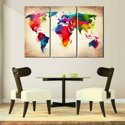 3 Pcs Abtract World Map Canvas Print Paintings Wall Art Picture Decor Unframed