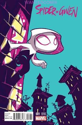 Spider-Gwen #1 Skottie Young Variant Cover Marvel Comic Book New 2015 Spider-Man