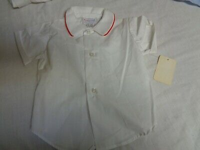 Vintage Bambini Formale Manica Corta W Bianco / a Righe Rosse
