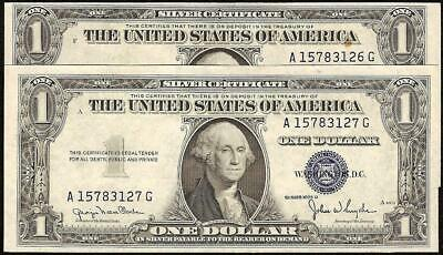 2 CONS 1935 D WIDE to NARROW CHANGEOVER PAIR $1 SILVER CERTIFICATE NOTES UNC