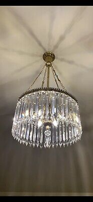 Rare 19th Century Antique Crystal & Bronze Chandelier
