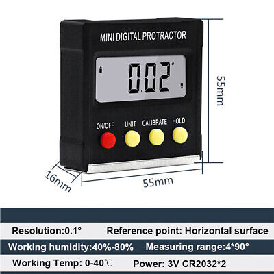 US Protractor Electronic Cube Inclinometer Angle Gauge Meter Digital Level Box