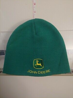 fea35590a32775 John Deere Green Embroidered Knit Skull Cap hat Farming one size fits all  NWOT!