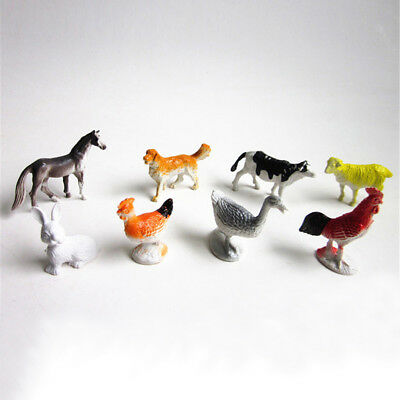 8x Farm Animals Models Figure Set Toy Plastic Simulation Horse Dog Kid Gift BSCA