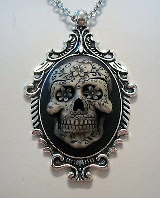 """Sugar Skull Skeleton Cameo Pendant Day Of The Dead Necklace 18/"""" Steampunk Silver"""