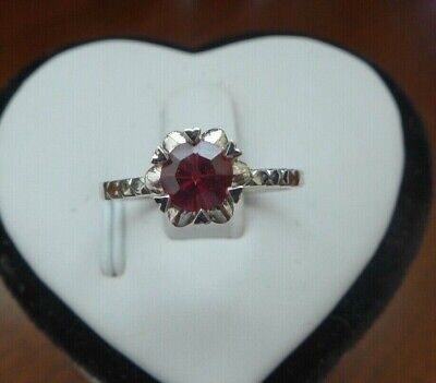 Very Rare Vivid Red Spinel set with 14K white Gold Ring