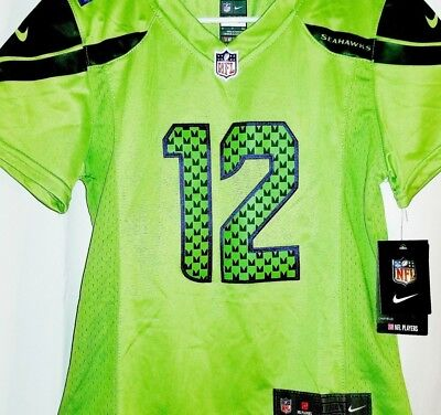best website d01a9 4f89b SEATTLE SEAHAWKS 12TH Man Woman Jersey Bright Neon Green Team Color RUSH  NIKE