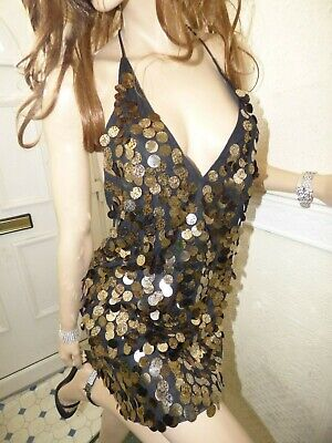 10b1d8656621 Motel Rocks Finn Slip Dress in Black with Gold and Copper sequins size Small