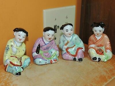 "4 Chinese Famille Rose Children 3.5"" Playing Musical Instruments Vintage China"