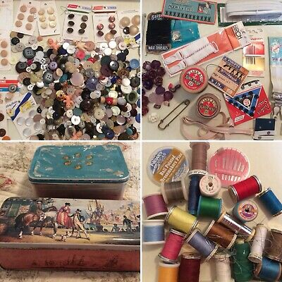 Vintage Sewing Tins - Buttons - Thread - Bulk Mixed Lot Craft Sew Old