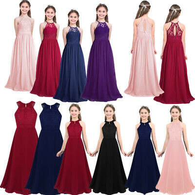 Girls Ball Gown Dress Kids Wedding Princess Bridesmaid Party Maxi Prom Birthday