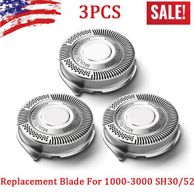 3pcs Replacement Shaver Blades Heads For Norelco Philips 1000-3000 S738 SH30/52