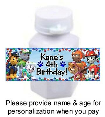 30 Paw Patrol Birthday Party Baby Shower Bubble Labels Stickers Skye Chase Favor