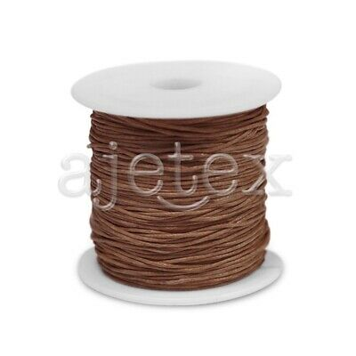 1 Roll 70M Waxed Cotton Cord Jewellery Craft Beading Thread Thong 0.8mm Brown