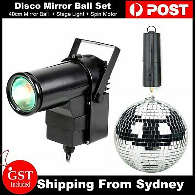 40cm Disco Mirror Ball & Stage Lights & Spin Motor Set Club DJ Dance Party Event