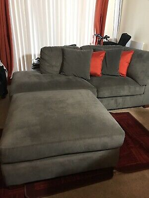 Awesome Gray Sectional Sofa With Ottoman Local Pickup In Columbia Machost Co Dining Chair Design Ideas Machostcouk
