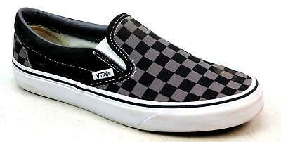 26864df743a742 Unisex Vans Classic Checkered Slip On Black Canvas Skater Pumps Trainers Size  6