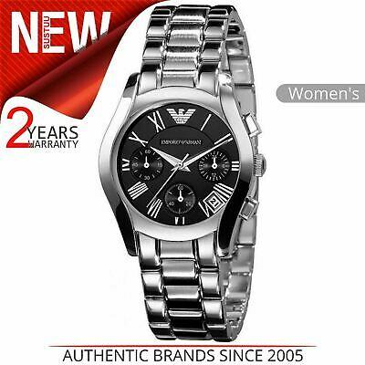 Emporio Armani Women's Luxury Watch AR0674¦Chronograph Dial¦Silver Bracelet Band