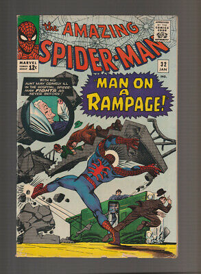 Amazing Spider-Man # 32  Man on a Rampage !  grade 4.5 scarce book !