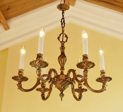 Large Vintage Antique French Brass Gilt Rococo Ceiling Light Lamp Chandelier