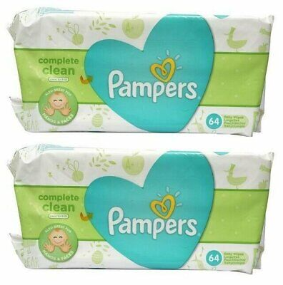 PAMPERS BABY WIPES NATURAL CLEAN UNSCENTED 64ct (2 PACK)