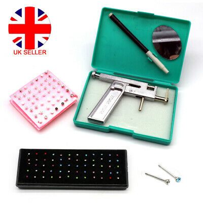 Professional Steel Ear Nose Navel Body Piercing Gun Tool Set Rhinestone Studs UK