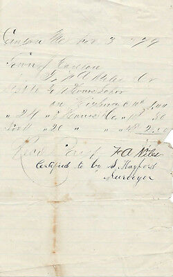 1879 Bill to Canton, Maine for Land Surveyors Work Time – S. Hayford