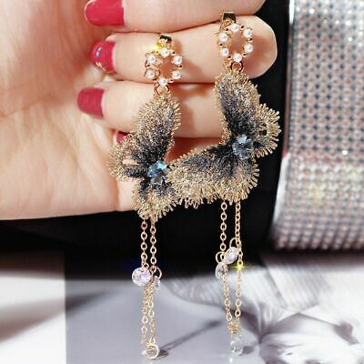 Women Summer Embroidery Butterfly Crystal Tassel Fashion Dangle Earrings Chain