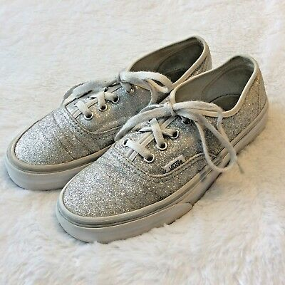abecd23b59 Flaw Vans Shoes Sneakers Silver Glitter Sparkle Size Womens 7 Lace Up  Metallic