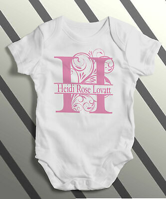 Personalised Monogram & Name Baby Body Grow Suit Vest Girl Boy Gift Pink Blue