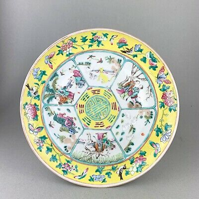 DETAILED ANTIQUE chinese YELLOW PLATE with PAINTED PANELS