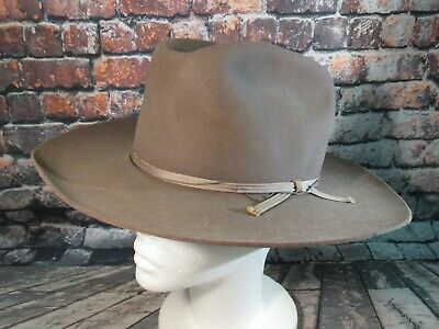 4a3e23a2032fb VINTAGE NO. 1 quality Stetson Cowboy Hat Brown High Front Moth ...