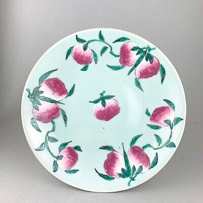 LARGE MID 19thc CELEDON PLATE painted with PEACHES